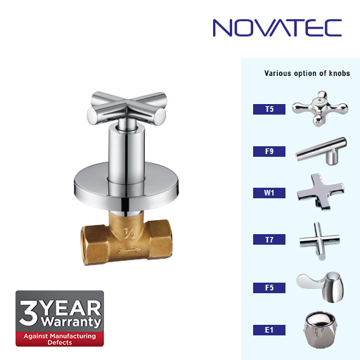 Novatec 1/2 Inch Concealed Quarter Turn Stopcock E1-1117-QTD